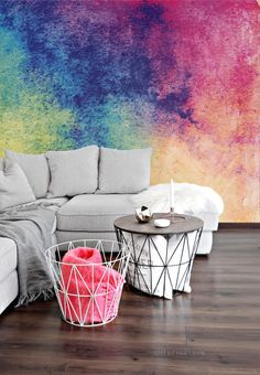 Watercolor Mural - Adhesive Wallpaper - Removable Wallpaper - Wall Sticker - Colorful Pattern - Customizable Wallpaper - Watercolor