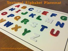 DIY textured alphabet placemat