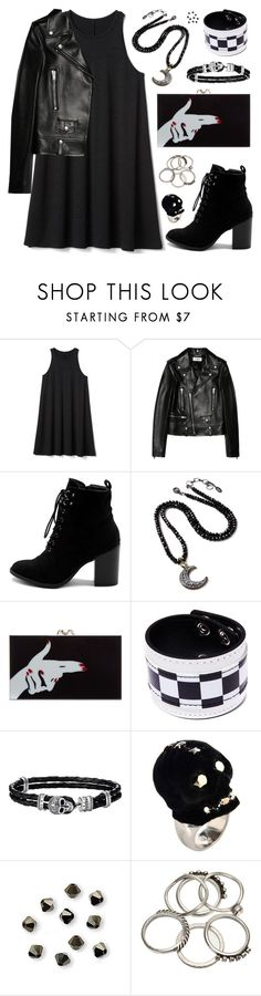 """Cool-Girl Style: Leather Jackets"" by megan-vanwinkle ❤ liked on Polyvore featuring Gap, Yves Saint Laurent, Ollio, Amrita Singh, Charlotte Olympia, Funk Plus, Thomas Sabo, Alexander McQueen, leatherjacket and allblack"