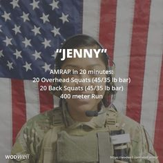 """Jenny"" WOD - AMRAP in 20 minutes: 20 Overhead Squats (45/35 lb bar); 20 Back Squats (45/35 lb bar); 400 meter Run"