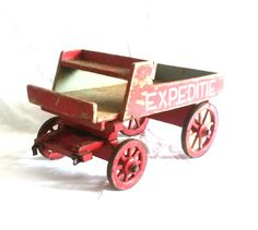Antique Wooden Wagon / Antique Dutch Wooden Horse Wagon / Horse Pull Wagon Toy