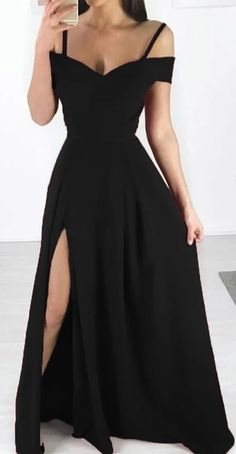 Black Long Prom Dress , Sexy Satin Prom Dress - Late Tutorial and Ideas Straps Prom Dresses, Pretty Prom Dresses, Gala Dresses, Simple Dresses, Elegant Dresses, Homecoming Dresses, Sexy Dresses, Beautiful Dresses, Fashion Dresses