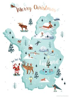 Illustrated map of Lapland/Sápmi. Christmas card with traditional decorations. Winter scene of Utrecht. Travel Illustration, Christmas Illustration, Travel Maps, Travel Posters, Christmas Poster, Merry Christmas, Plan Ville, Map Design, Christmas Design