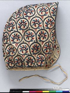 Date:      1600–1630  Culture:      English  Medium:      Linen worked with silk and metal thread, spangles; satin, long -and-short, braid, buttonhole, and couching stitches