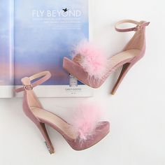 Feather Ankle Strap Heels MAUVE