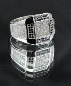 Square Men Ring Solid Sterling Silver Round Black Diamond CZ Pave Bling Clear Diamond Ice CZ Men Wedding Engagement Anniversary Ring Ring