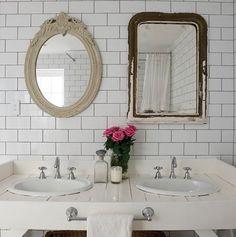 White Subway Tile Bathroom - Design photos, ideas and inspiration. Amazing gallery of interior design and decorating ideas of White Subway Tile Bathroom in bathrooms by elite interior designers. White Bathroom, Bathroom Interior, Home Interior, Bathroom Mirrors, Eclectic Bathroom, Modern Bathroom, Design Bathroom, Vanity Mirrors, Wall Mirrors