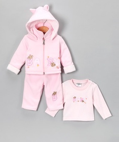 Take a look at this Pink 'Baby' Zip-Up Hoodie Set by Just Too Cute on #zulily today!