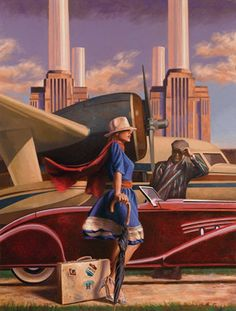 British Artist Peregrine Heathcote ~ beautiful art deco art! Battersea Power Plant in the background