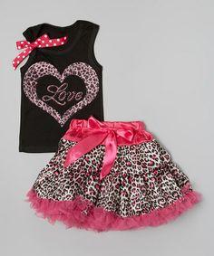 Look at this #zulilyfind! Black & Pink Leopard 'Love' Tank & Pettiskirt - Toddler & Girls #zulilyfinds 30.00