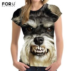 Load image into Gallery viewer, Customized Dog Schnauzer Face Printed Women T Shirt Fashion Bodybuilding Tee Shirts Brand Designer Short Sleeve Tops Clothes - moonaro T Shirt Chien, Airbrush T Shirts, 3d Dog, Fitness Fashion, Shirt Style, Dog Lovers, Branding Design, Casual Outfits, T Shirts For Women