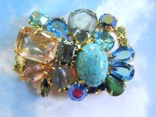 Jaw Dropping Gorgeous Huge Multi Stone Vintage 50's Brooch