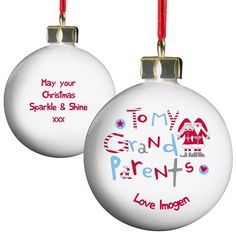 Personalised Grandparents Bauble  from Personalised Gifts Shop - ONLY £10.99
