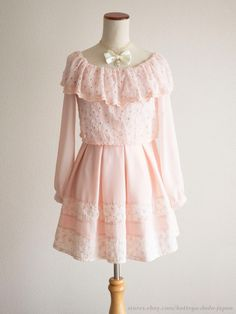 LIZ LISA Off-shoulder Flower Lace Pink OP Dress Hime Sweet Lolita Kawaii Japan #LIZLISA #PeplumTunic #Shibuya109Lolitafashion