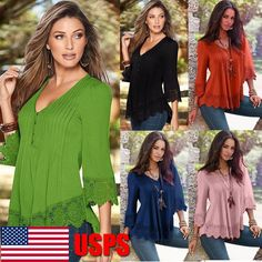 Women's Lace Crochet Long Sleeve Shirt Casual Loose Blouse Pullover Tops Shirt   Clothing, Shoes & Accessories, Women's Clothing, Tops & Blouses   eBay!