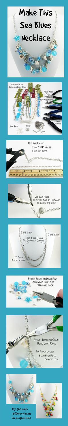 Make this easy DIY nautical-inspired Sea Blues Necklace before you head out for summer adventures.