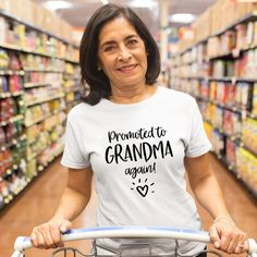 Promoted to grandma again cool funny t-shirt tee top shirt great gift present idea for girls ladies sexy t-shirt funny t-shirt Top Drinks, Mom And Daughter Matching, Ladies Tops, Great Lengths, Tee Shirts, Tees, Album Covers, Happy Shopping, Funny Tshirts