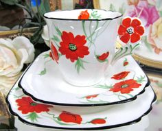 Collingwood Flower Handle Tea Cup and Saucer Trio A F | eBay