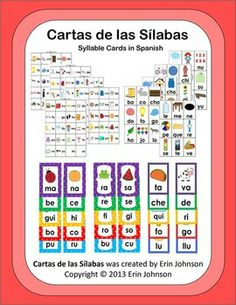 $6 Syllable Cards in Spanish by vowel groups with lots of games to play during literacy centers
