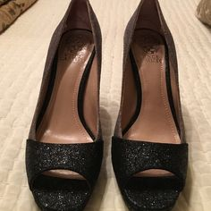 Dressy black and grey peep toe pump. Worn once. Vince Camuto Shoes Heels