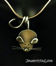 Sterling Silver Mouse Necklace Nibbles by JYLbyPeekaliu on Etsy