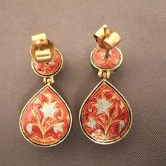 "The enamel nice work on the backside of these ""Moghul"" earrings...www.halter-ethnic.com...se"