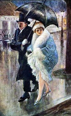 ✿Rainy Day✿ Two Under an Umbrella by Albert Guillaume Umbrella Painting, Rain Umbrella, Under My Umbrella, Walking In The Rain, Singing In The Rain, Walking Sticks, Illustrations, Illustration Art, Rain Days