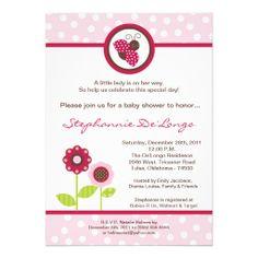 5x7 Berry Garden Lady Bug Baby Shower Invitation