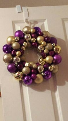 Purple and gold bauble wreath.