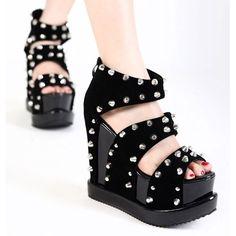 Black Suede Studded Wedge Platform Steam Punk Rock Fashion Sandals Women SKU-11405389