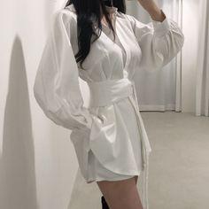 Simple Outfits, Casual Outfits, Cute Outfits, Lee Yoon Ji, Girl Fashion, Fashion Dresses, Korean Fashion, Girl Outfits, Shirt Dress