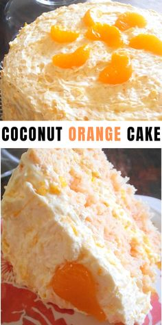 Coconut Orange Dessert Cake Recipe for Easter Dessert Cake Recipes, Köstliche Desserts, Delicious Desserts, Plated Desserts, French Desserts, Food Cakes, Cupcake Cakes, Cupcakes, Orange Dessert
