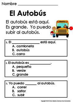 Spanish Reading Comprehension Passages ~ Mis Primeras Lecturas para Comprension