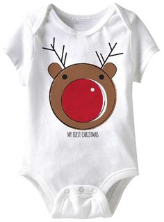 jiminy christmas White 'My First Christmas' Rudolph Bodysuit - Infant Baby Boy Christmas, Christmas Onesie, Christmas Clothes, Xmas, Halloween Disfraces, Cute Baby Clothes, Textiles, Baby Sewing, Funny Babies