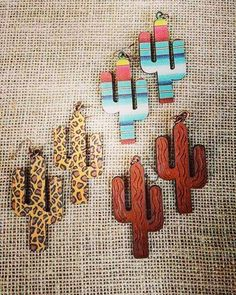 Cactus Earrings $24.00 each or $64.00 for all 3 ✨ Serape- Cheetah- Leather Comment below with email & print to order!