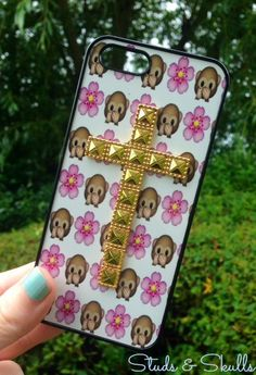 Iphone 5 5S Phone Case Emoji Monkey Floral Print Hipster Studded Cross Phone Cover