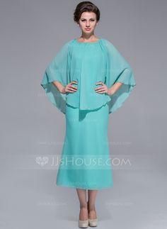 [US$ 129.99] A-Line/Princess Scoop Neck Tea-Length Chiffon Mother of the Bride Dress (008025759)