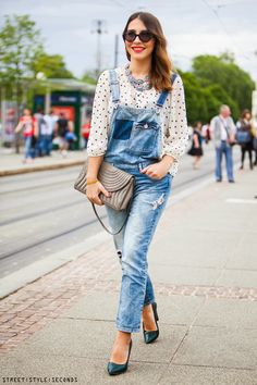 Look, streetstyle, outfit, fashion, moda, tendencia, trendy, jumsuit, jeans, jeans jumpsuit, macacão jeans, macacão