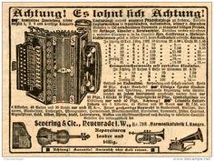 Original-Werbung/Inserat/ Anzeige 1908 - KONZERT-ZUGHARMONIKA / SEVERING & CIE. NEUENRADE ca. 140 x 100 mm