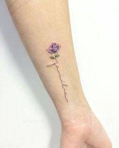 Rose tattoo by mary ellen flower tattoos тату Lila Tattoos, Body Art Tattoos, Small Tattoos, Tatoos, Purple Flower Tattoos, Tattoo Flowers, Orchid Tattoo, Loyalty Tattoo, Tattoo Minimaliste