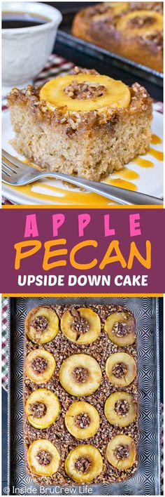 Apple Pecan Upside Down Cake - a layer of apple rings, caramel, and nuts baked into the bottom of this cake makes it so pretty. Easy recipe for fall parties or the holidays. #apple #cake #fall #crunchpak