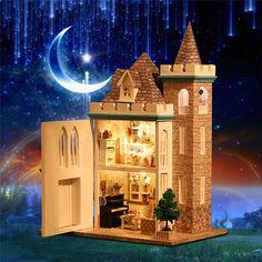 DIY Moonlight Castle Model Assemble Wooden Dollhouse With Light Handmade Kit Box Doll House #Affiliate