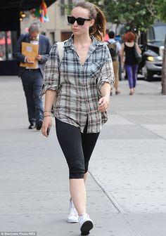 Olivia Wilde casual in plaid