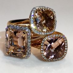 Stunning Rose Gold Rings with Morganite & Diamonds - Hot property! Morganite Ring, Minerals, Gold Rings, Cufflinks, Diamonds, Stones, Rose Gold, Glamour, Jewellery