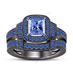 2.00Ct 14k Black Gold Finish 925 Silver Princess Cut & Sapphire Wedding Band Set #aonedesigns #SolitaiteWithAccents
