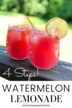 This easy 4 ingredient watermelon lemonade is made in 4 steps and is the perfect summer drink! It's so refreshing! #recipe #summer #watermelon #lemonade Watermelon Smoothies, Watermelon Lemonade, Watermelon Recipes, Fruit Recipes, Summer Recipes, Smoothie Recipes, Drink Recipes, Watermelon Punch, Lemonade Drink