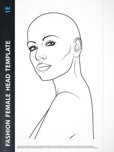 Fashion Female Head Template for Fashion Hairstyle, Jewelry or Make-up Design. Fashion Illustration Poses, Fashion Illustration Template, Drawing Templates, Drawing Sketches, Drawings, Drawing Tutorials, Sketching, Female Head, Female Bodies