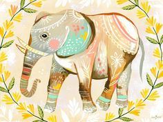 """Wild Flower Elephant"" Poster Decal, Stretched Canvas Art, or Framed Art Print by Katie Daisy for Oopsy Daisy, $20 - $199"