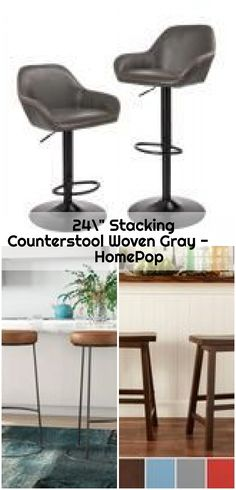 """24"""" Stacking Counterstool Woven Gray - HomePop ,  ,  #Counterstool #Gray #HomePop #Stacking #Woven Counter Bar Stools, Sew, Gray, Jeans, Furniture, Home Decor, Decoration Home, Room Decor, Counter Height Stools"""