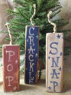 Primitive Americana 4th of July Red White Blue Firecrackers Shelf Sitter Wood Blocks - Free Ship